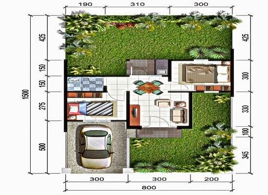 Sketsa rumah tipe 6x10