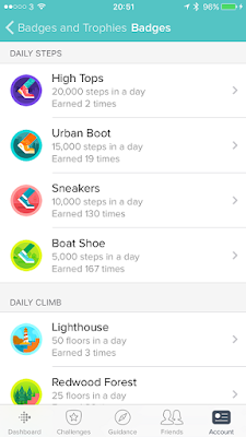Fitbit badges screen