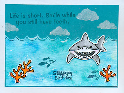 Shark Bites Card by Margo B featuring Newton's Nook Deisgns
