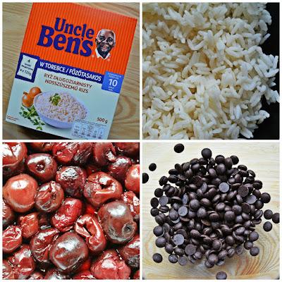 Placek ryżowy z wiśniami i czekoladą - składniki