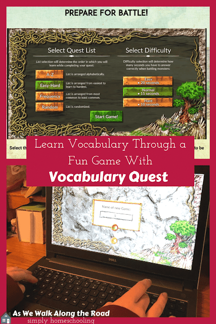 Homeschool vocabulary practice with a video game