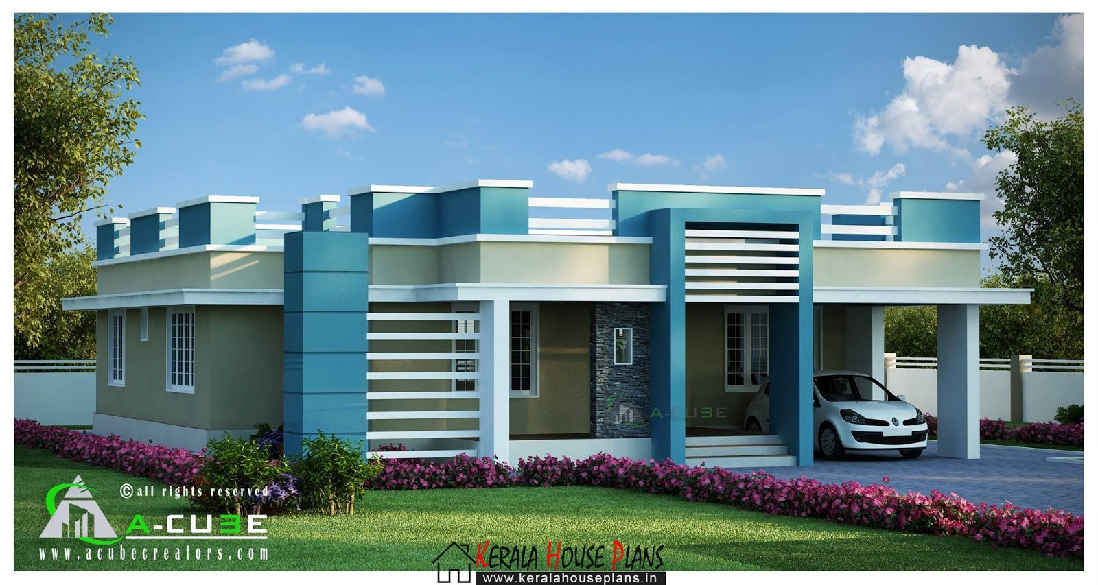 Beautiful kerala single floor contemporary house design for Single floor house elevation designs