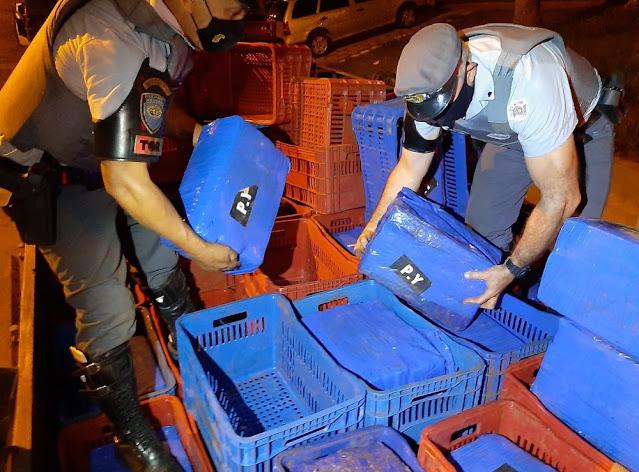 Abordagem da policial Militar  resulta na apreensão de quase 3 toneladas de maconha