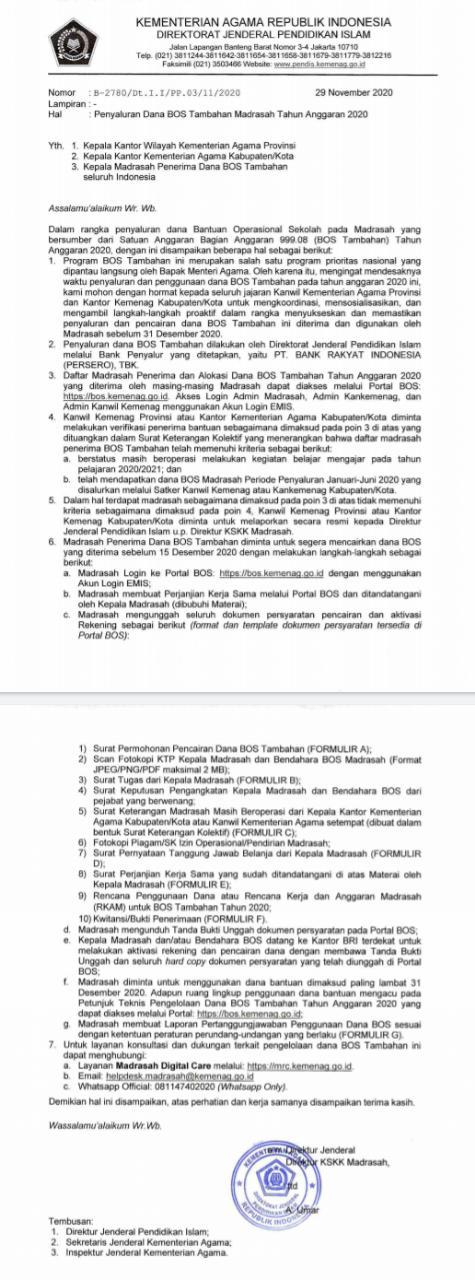 Surat Edaran Penyaluran Dana Bos Tambahan Madrasah Tahun Anggaran 2020 Admin Bawean