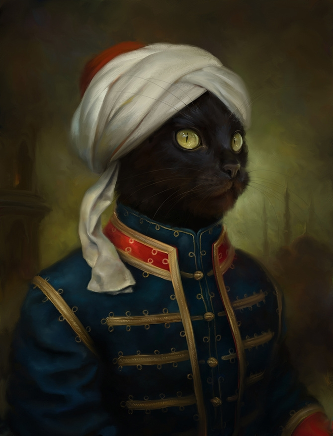 04-The-Hermitage-Court-Moor-Cat-Eldar-Zakirov-Digital-Art-Illustrations-of-Smartly-Dressed-Cats-www-designstack-co