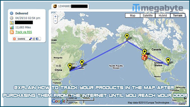Explain how to track your products in the map after purchasing them from the Internet until you reach your door