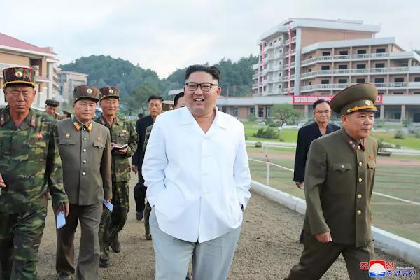 Kim Jong Un at Yangdok hot spring resort construction site, August 2019