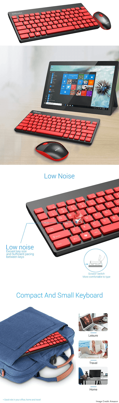 The image of Portronics Key2-A black red wireless keyboard and mouse combo. It has a warranty of 1 year. Moreover, The keyboard has a total of 79 keys and the mouse has a total of 3 buttons.