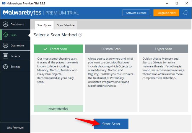 البحث عن برامج ضارة باستخدام Malwarebytes على Windows.