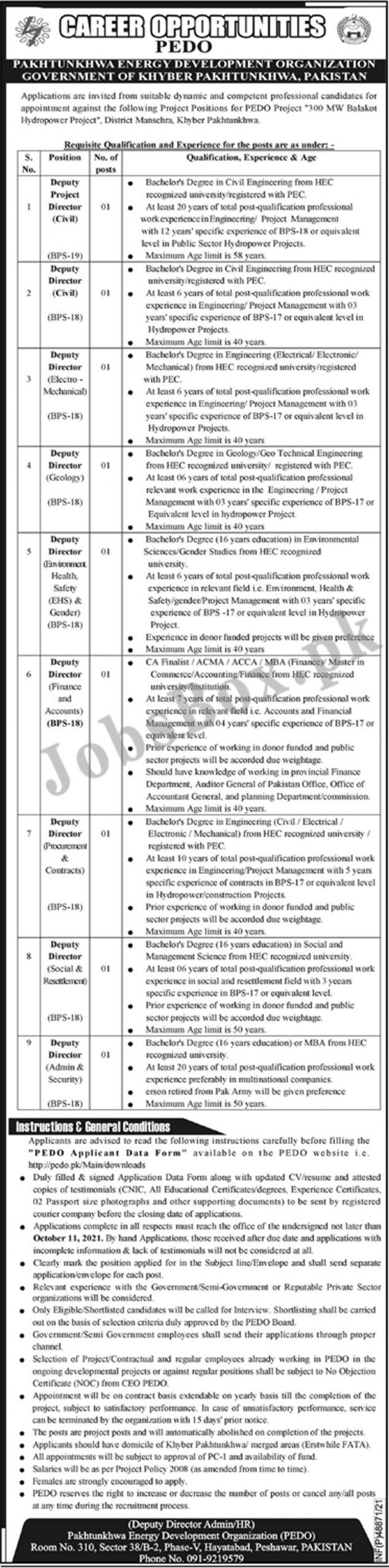 Pakhtunkhwa Energy Development Organization PEDO Jobs 2021
