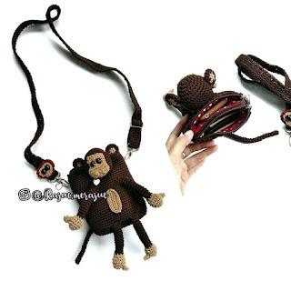 crochet, crochet bag, crochet slingbag, tas rajut remaja, tas rajut karakter, tas rajut karakter hewan, tas rajut monyet, tas rajut kekinian, tas rajut santai, tas rajut unik, tas rajut lucu, dompet rajut, dompet hp rajut