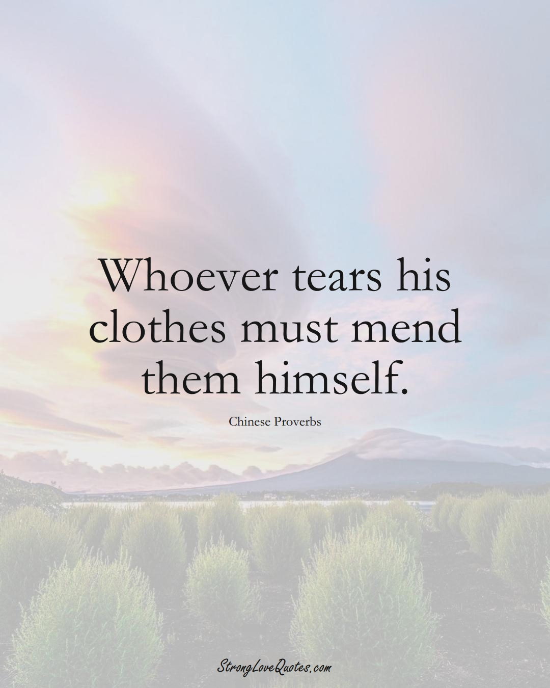 Whoever tears his clothes must mend them himself. (Chinese Sayings);  #AsianSayings
