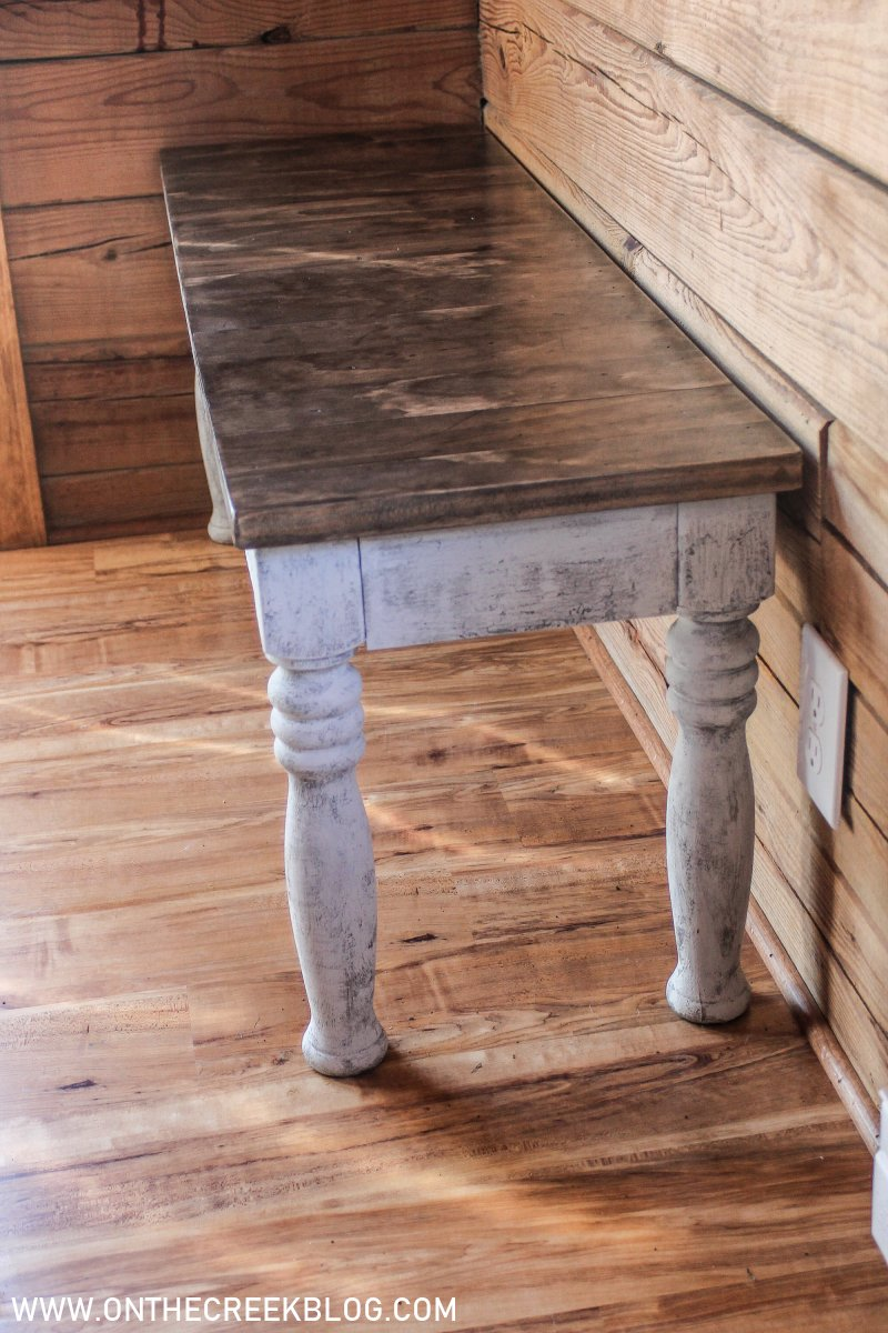 Painting our upcycled DIY dining bench using crackle glaze! | On The Creek Blog