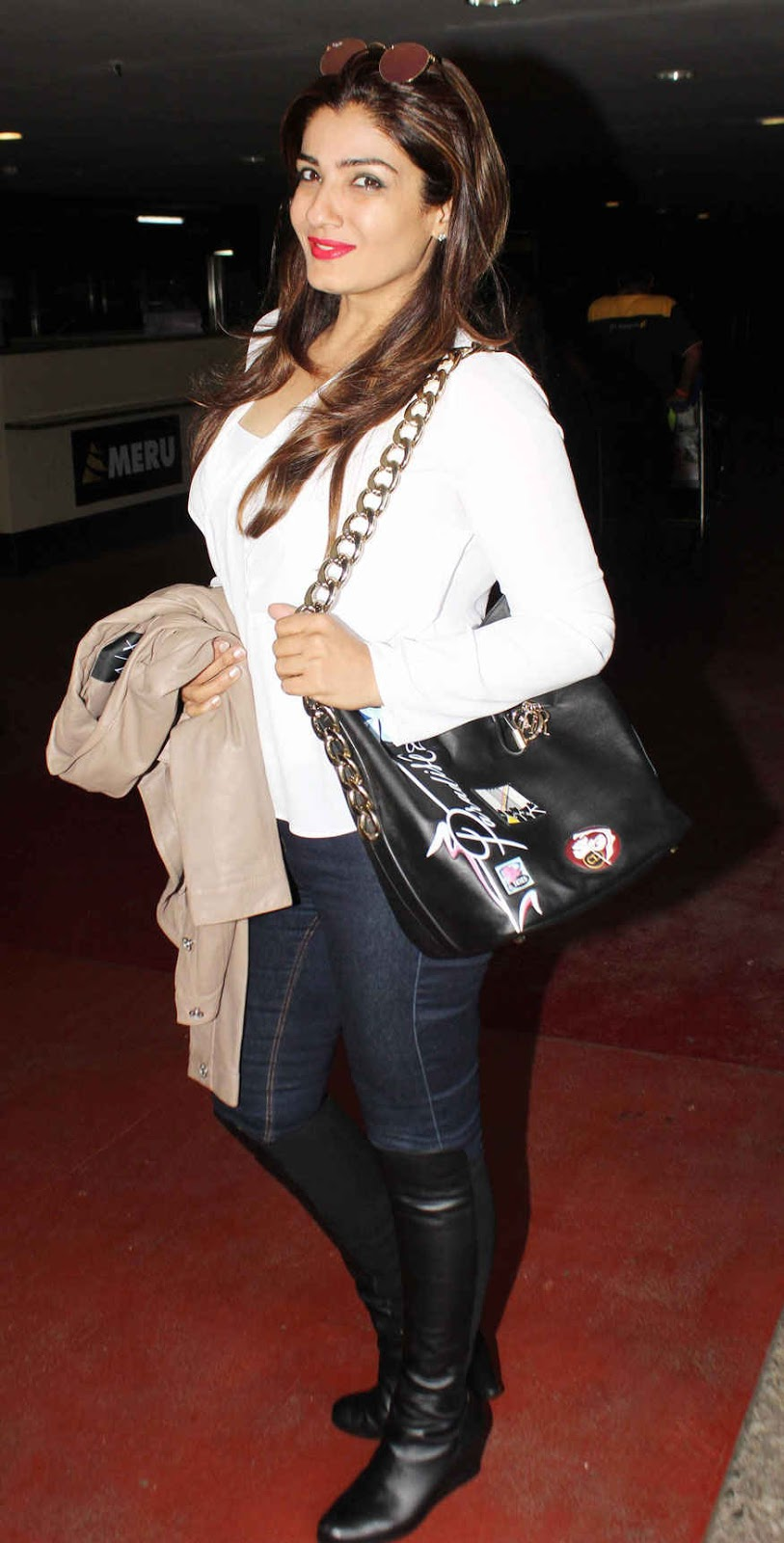 Actress Raveena Tandon Spotted at Mumbai Airport