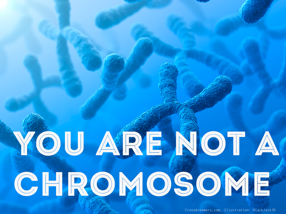 Photo of chromosomes with the caption: You are not a chromosome