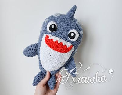 Krawka: Blue baby shark pattern amigurumi by Krawka