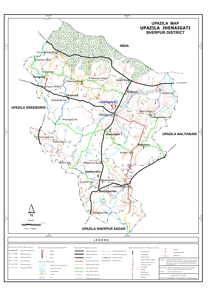 Jhenaigati Upazila Map Sherpur District Bangladesh