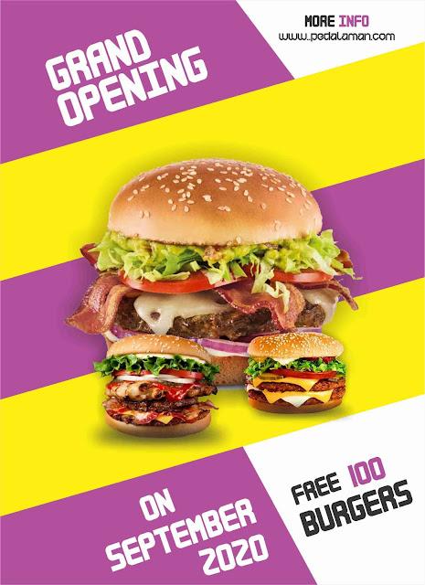 Brosur burger, desain brosur makanan cepat saji