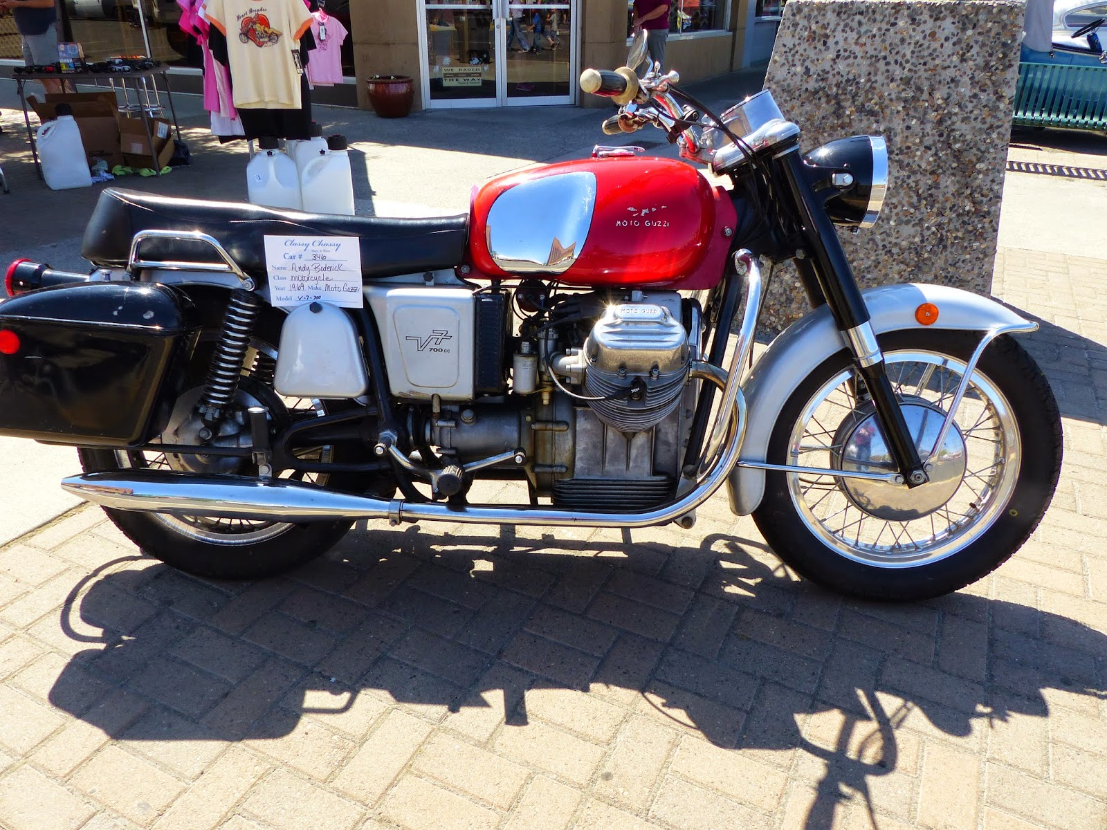 OldMotoDude MotoGuzzi V On Display At The Classy Chassy - Car show display accessories