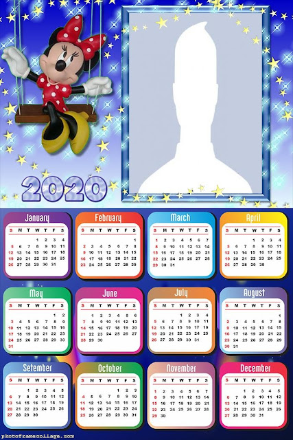 Minnie in Blue: Free Printable 2020 Calendar.