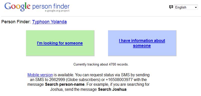 Google People Finder For Typhoon Yolanda