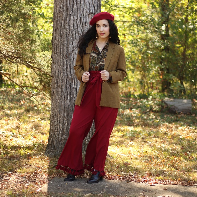 SHEIN Burgundy Hugh Waist Pants