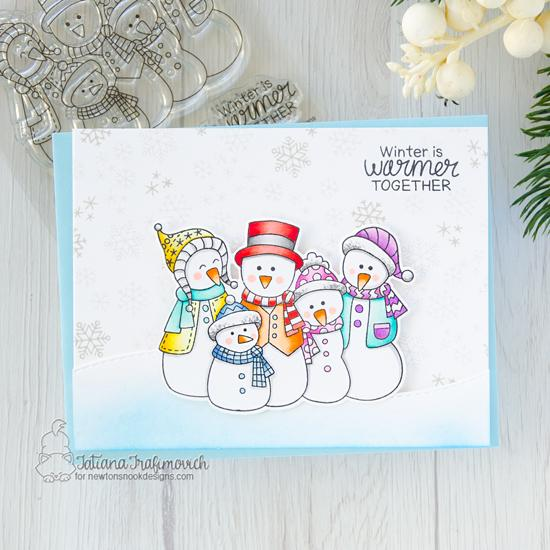 Snowman Card by Tatiana Trafimovich | Frosty Folks Stamp Set and Land Borders Die Set by Newton's Nook Designs #newtonsnook #handmade