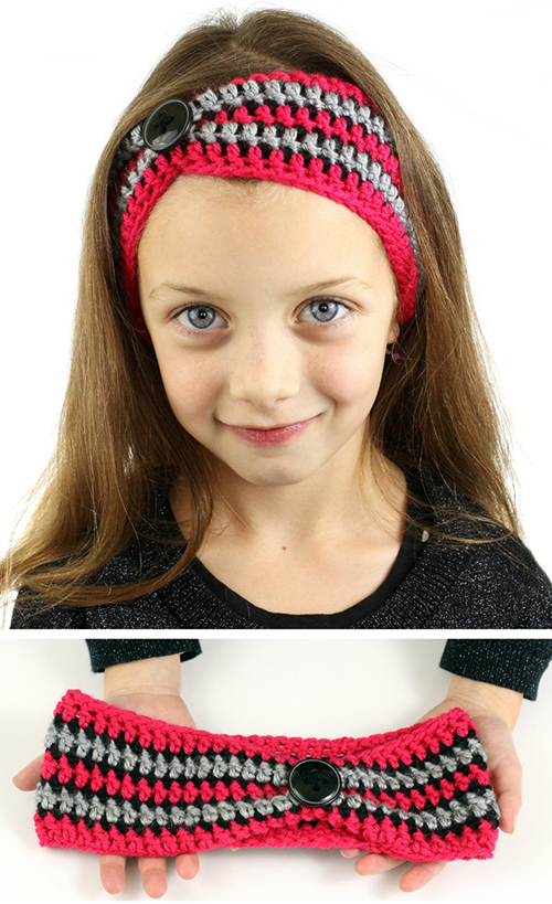 Striped Pinched Crochet Headband - Free Pattern