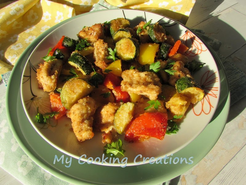 Хрупкави пилешки хапки със зеленчуци на фурна * Straccetti di pollo e verdure gratinati