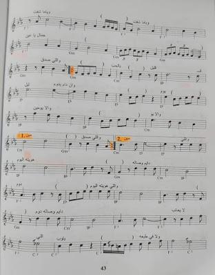 نوتة موسيقية القلب يعشق كل جميل ام كلثوم كلمات بيرم التونسى الحان رياض السنباطي المقام البيات الصول