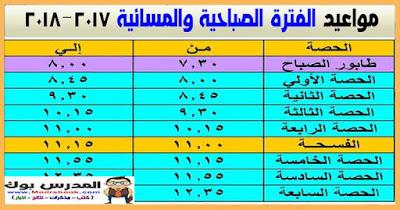 مواعيد الفترة الصباحية 2018 | مواعيد الفترة المسائية 2018 في مدارس مصر مع عدد الفترات للأسبوع