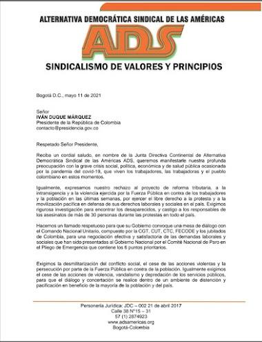CARTA PUBLICA DE ADS al Presidente de Colombia