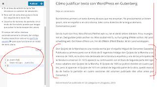 Wordpress: cómo justificar texto en el editor Gutenberg