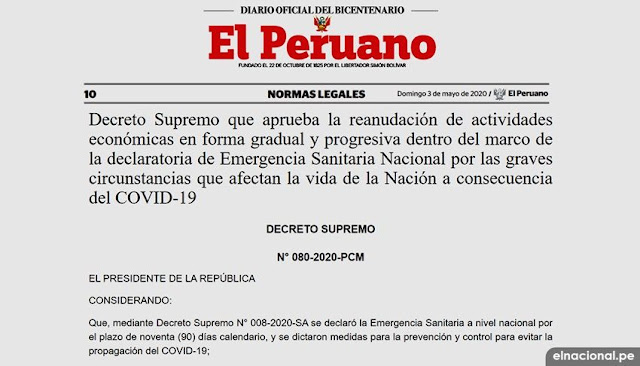 Decreto Supremo N° 080-2020-PCM, para reanudar actividades económicas en Perú fue publicado en el Diario Oficial El Peruano