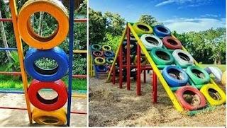 ألعاب رياضية للأطفال باستخدام عجلات تالفة
