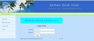 Halaman login Aplikasi Quick Count