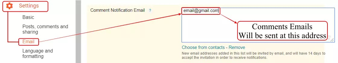 Blogger email setting