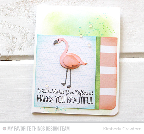 Beautiful Flamingo Card by Kimberly Crawford featuring Distressed Patterns and Laina Lamb Design Tickled Pink stamp sets,and the Laina Lamb Design Flamingos Die-namics #mftstamps