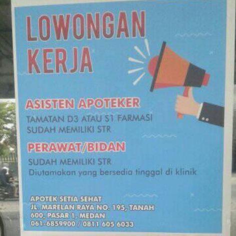 Lowongan Kerja Asisten Apoteker Di Apotek Setia Sehat Medan Loker Medan Desember 2019