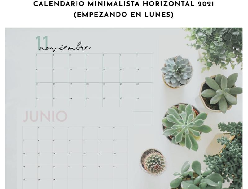 Calendario minimalista para imprimir 2021.