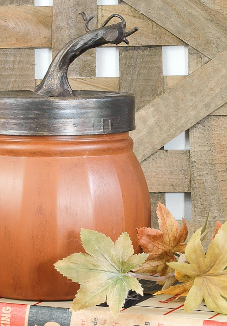 Dollar Tree glass jars turned pumpkins