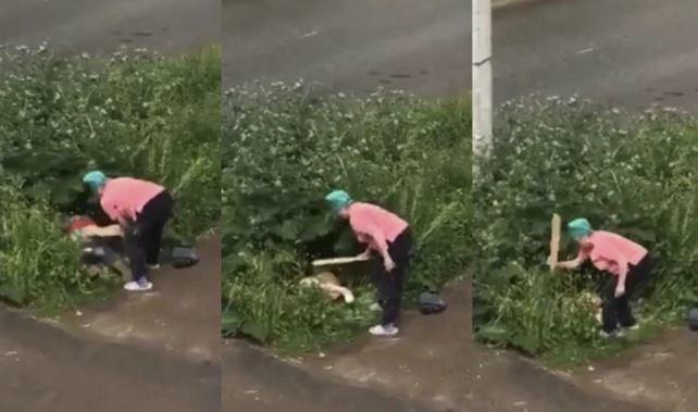 Abuelita golpea a una pareja que hacía el delicioso en un jardín de Rusia