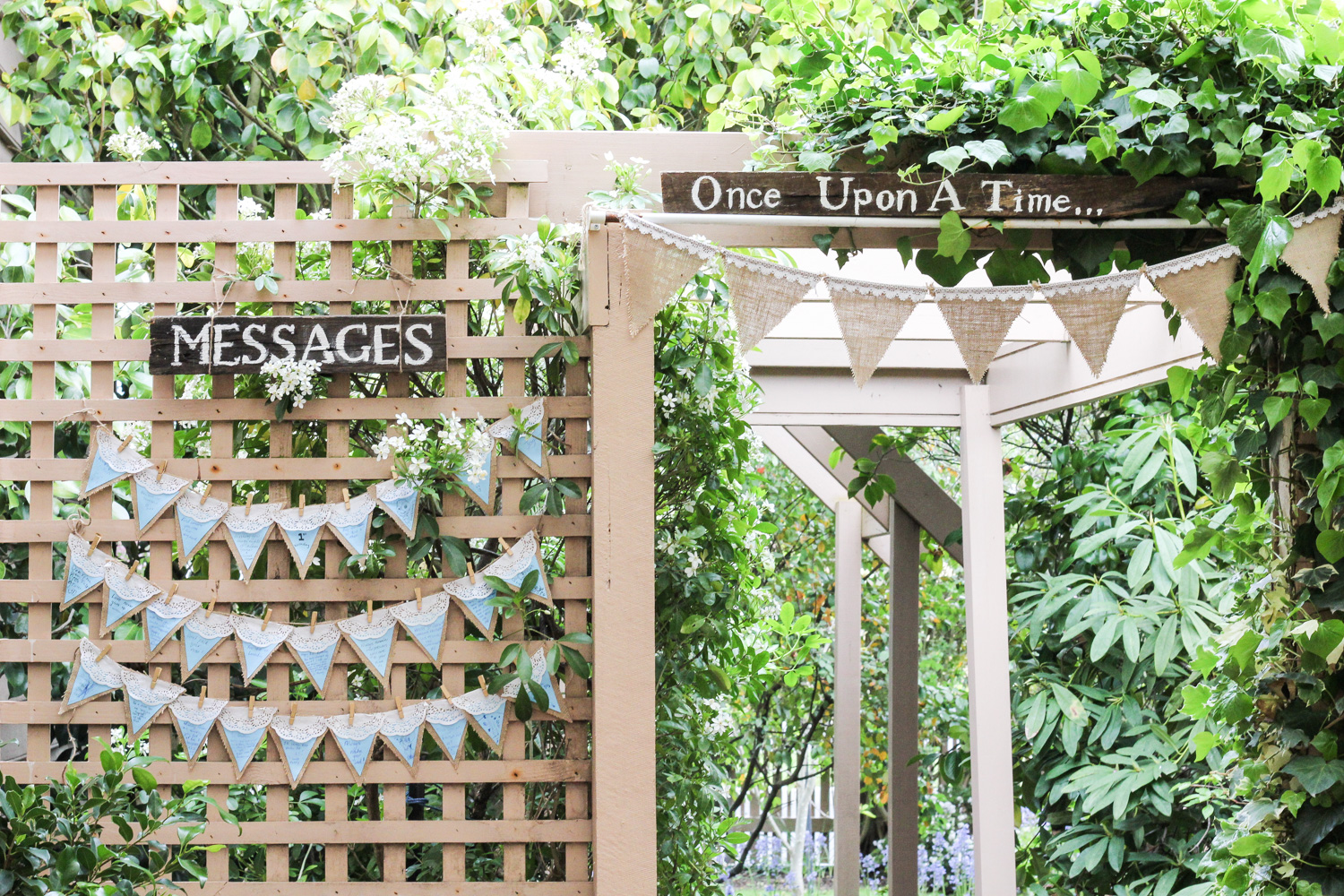 Bunting message board at wedding or first birthday