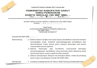 Contoh SK Komite Sekolah 2017 Format.doc