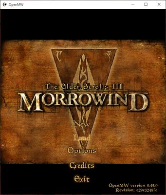 Der Morrowind Startbildschirm mit den Startoptionen Neu, Laden, Optionen und Exit.