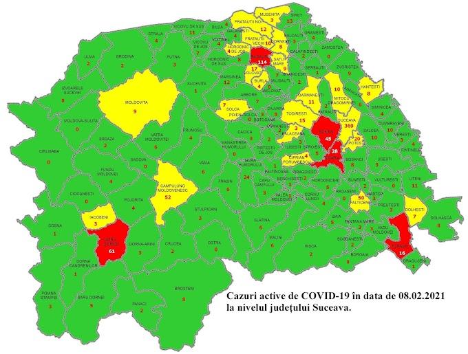Situația cazurilor COVID-19 la nivelul județului Suceava. Vatra Dornei rămâne în scenariul roșu cu 61 de cazuri active și o incidență de 3,7