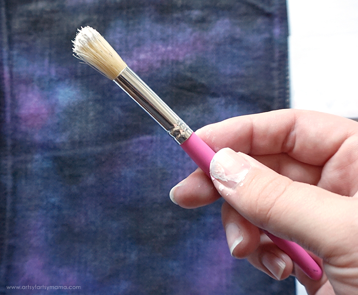 Stencil brush with white paint