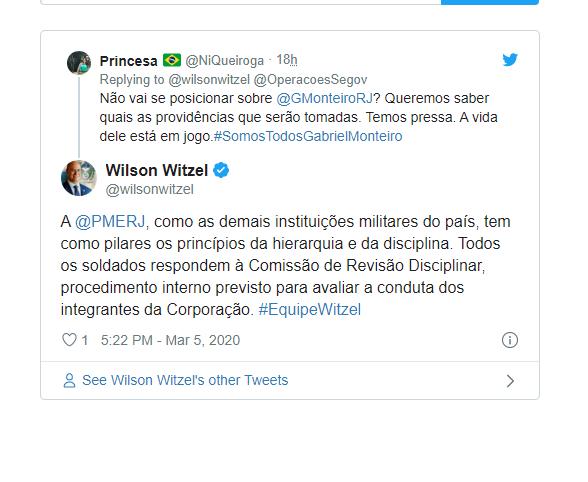 Resultado de imagem para Wilson Witzel (PSC) crava que não fará nada em defesa do soldado Gabriel |