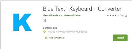 blue text app