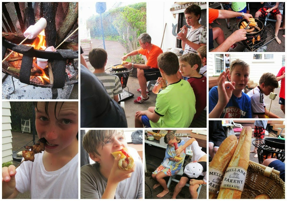 Hunger Games Party - cooking over the fire in the Hob
